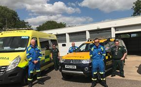 EEAST and HM Coastguard staff with one of their response vehicle at its new home at Saxmundham Ambulance Station